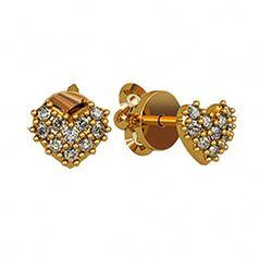 серьги сердечки в классическом оттенке золота
