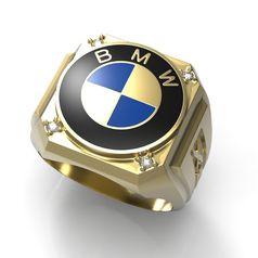 кольцо bmw x5 с эмалью и камнями