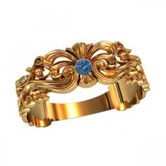 женское ажурное кольцо с узорами и камнем