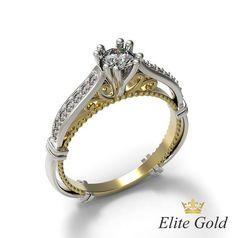 помолвочное женское кольцо с узорами и вензелями