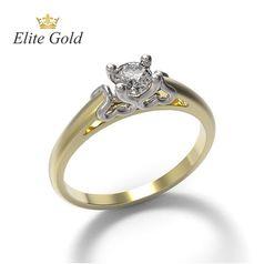 женское авторское кольцо для помолвки с одним камнем и узорами