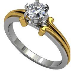 женское кольцо с одним камнем для помолвки