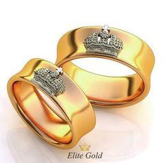 Кольца-короны в двух цветах золота