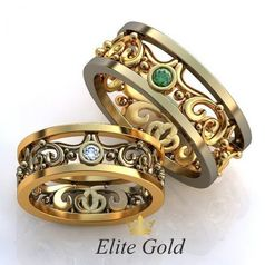 Авторские ажурные обручальные кольца в комбинированном золоте