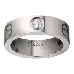 Кольцо в стиле Cartier Love Classic с тремя камнями по ободку в белом золоте