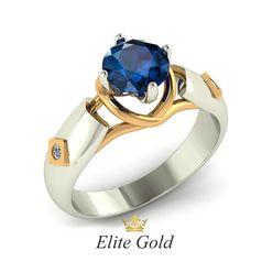 кольцо Siren с топазом London Blue и двумя бриллиантами