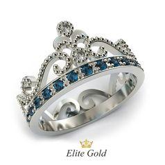 Кольцо Cronprincess с топазами London Blue и бриллиантами