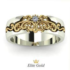Кольцо в лимонном и белом золоте