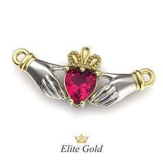 подвеска Red Heart с малиновым камнем в белом и лимонном золоте