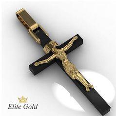 Золотой крест на цельном ониксе