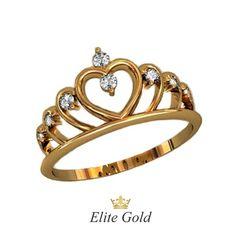 кольцо корона с белыми камнями