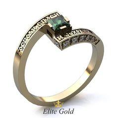 кольцо Blessed в белом золоте с зеленым камнем в центре