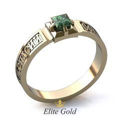 кольцо Спаси и Сохрани в белом золоте с камнем по центру