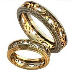ажурные обручальные кольца с узорами в центре