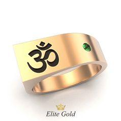 перстень с символом ОМ с чернением и зеленым камнем