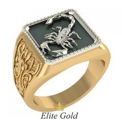 мужской перстень со скорпионом в 2 цветах золота