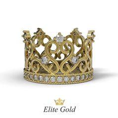 кольцо корона в красном золоте с камнями