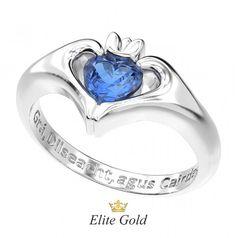 кладдахское кольцо Keira в белом золоте с синим камнем