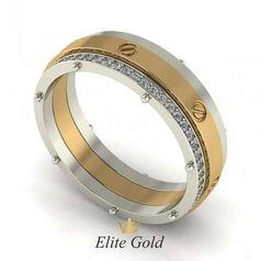 обручальное кольцо в красном и белом золоте с камнями по ободку