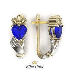 серьги Red Heart с синими камнями в белом и лимонном золоте
