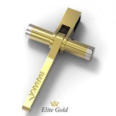 крест Барака в лимонном и белом золоте