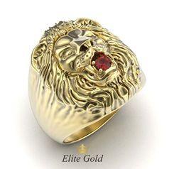 золотое кольцо Лев с красным камнем