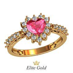 кольцо для помолвки с центральным камнем в форме сердца