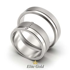кольца Duality of Love в белом золоте с матовой полосой