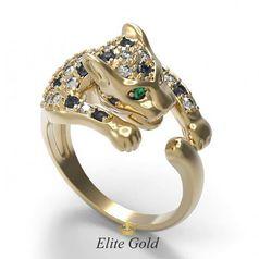 кольцо Пантера с черными, зелеными и белыми камнями