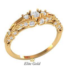 кольцо Bona с белыми камнями