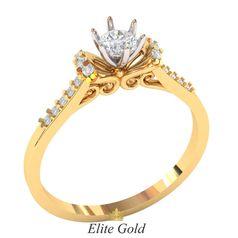 кольцо для помолвки с белыми камнями