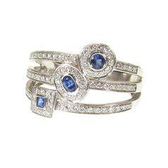 кольцо Beatice с бриллиантами и сапфирами