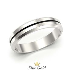 кольцо Minimalist в белом золоте с черной полосой и скошенными краями