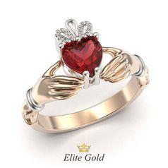кладдахское кольцо Red Heart Petite в красном и белом золоте