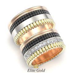 кольца в 3 цветах золота Quatro