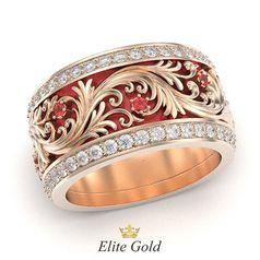 кольцо Astrea с красной эмалью в красном золоте