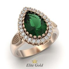 кольцо Hurrem в красном золоте с зеленым камнем в центре