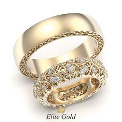 ажурные кольца Ника в красном золоте