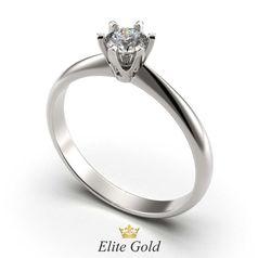 кольцо Cara в белом золоте с белым камнем