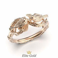 кольцо с птичками в красном золоте