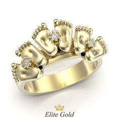 кольцо в лимонном золоте с 3 парами пяточек