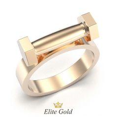 кольцо в красном золоте в виде гантели