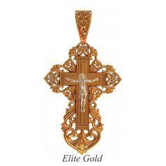 православный крест с распятием в 2 цветах золота