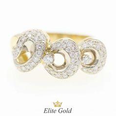 кольцо с овальными формами и камнями