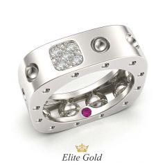 кольцо Pois Moi в белом золоте с камнями снаружи и внутри