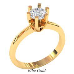 классическое кольцо на помолвку в красном золоте