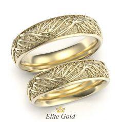 Авторские обручальные кольца Tree of Life в лимонном золоте