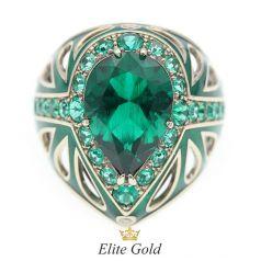 женский перстень Materia с зеленой эмалью, изумрудами и бриллиантами