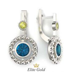 серьги Viviana в белом золоте с разноцветными камнями