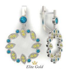 серьги Vivica в белом золоте с разноцветными камнями